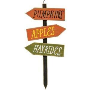 Pumpkins Apples Hayrides Wooden Stake